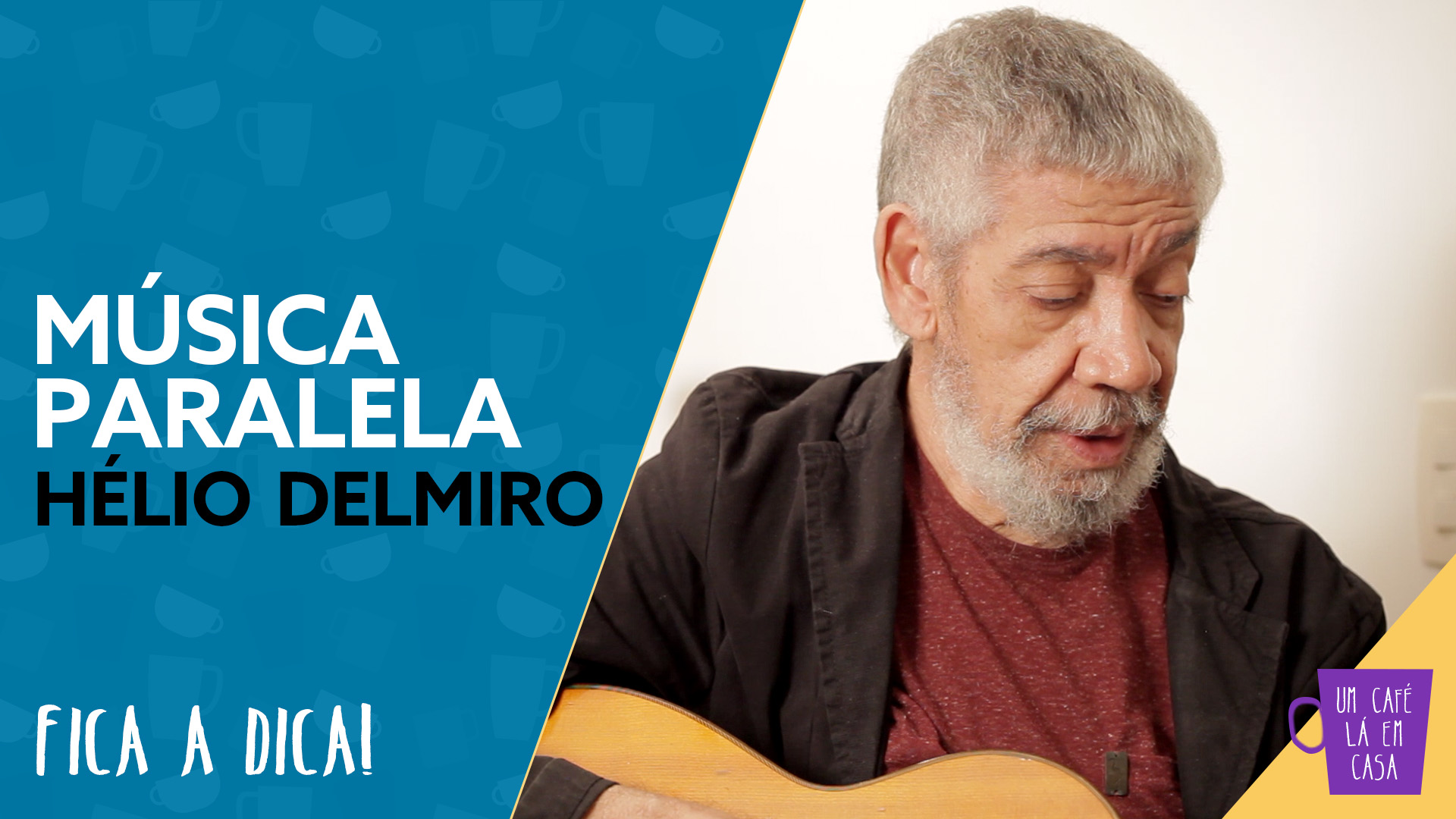 "Hélio Delmiro segura seu violão com o título ""Música Paralela de Hélio Delmiro"""